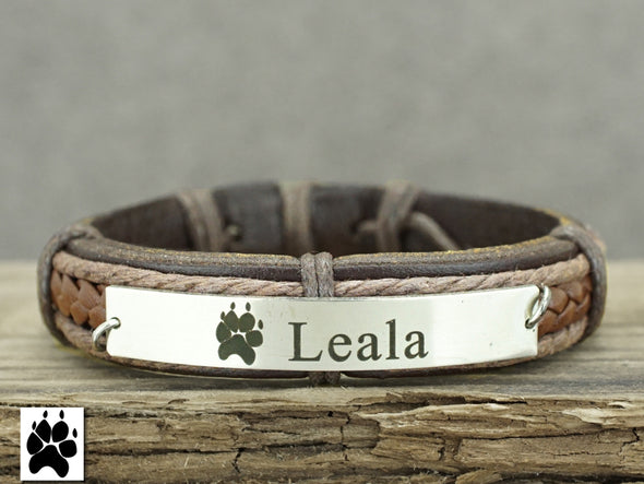 Actual Dog / Cat Paw Print Bracelet, Pet Memorial Bracelet, Pet Name Engraved