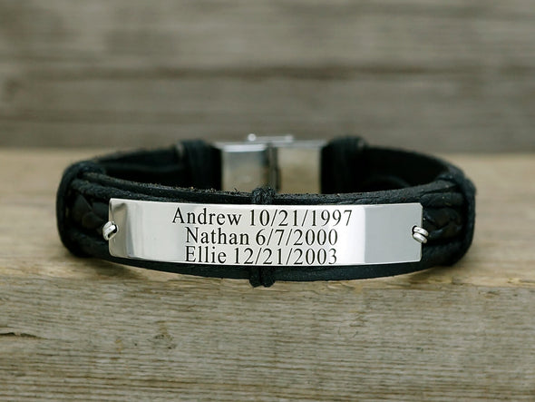 Kids Name & Birth Date Bracelet, Personalized Family Bracelet, Black Leather Cuff
