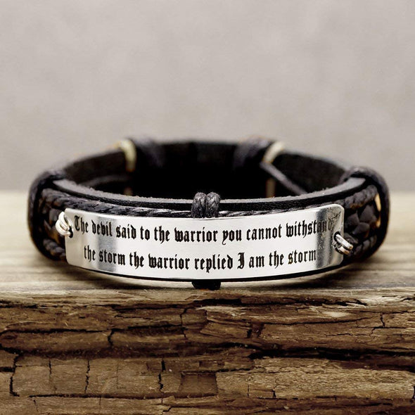 Personalized Mens Leather Bracelet, Game of Thrones Bracelet, Inspirational Quote Engraved Bracelet