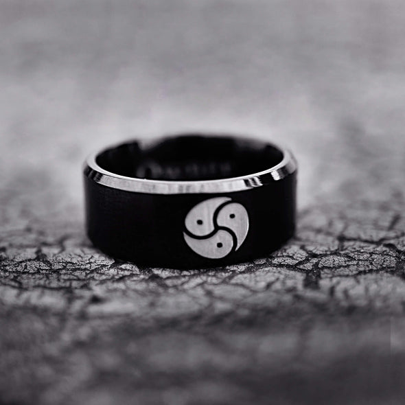 BDSM Triskelion Band, Triskele Emblem Ring, Custom Logo Engraved Band