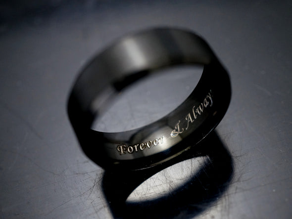 Forever and Always Ring for Men, Promise Ring, Black Tungsten Band, IP Beveled Edge, 8mm Width