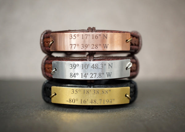 Custom Coordinates Engraved Location Mens Leather Bracelet