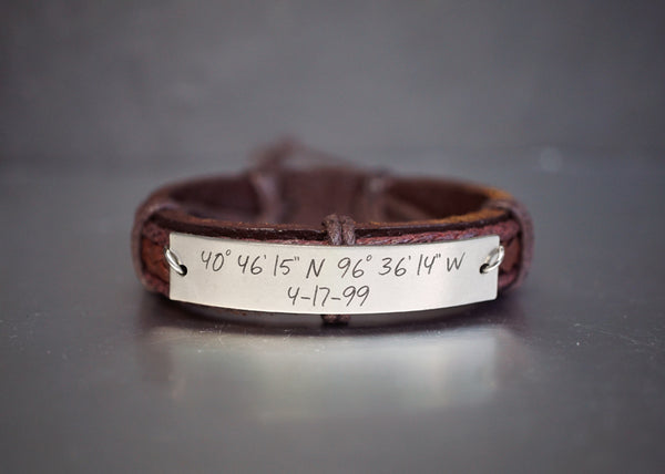 Personalized Mens Leather Bracelet, Custom Coordinate Bracelet