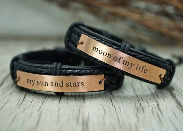 Moon of my life-my sun and stars bracelet, Game of Thrones, Couple leather bracelets, His and hers