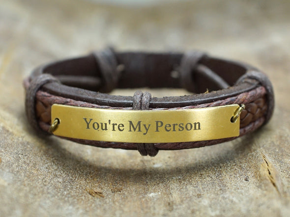 ou're My Person Bracelet, Leather Engraved Cuff, Grey's Anatomy Quote