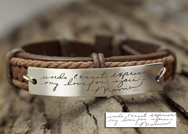 8ea47b0fb2454 Memorial Signature Bracelet, Actual Handwriting Bracelet, Personalized  Leather Engraved Bracelet