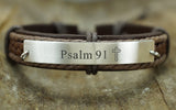 John 3:16 Bible Verse Bracelet, Personalized Scripture Bracelet, Mens Cross Engraved Leather Cuff