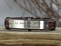 Actual Handwriting Bracelets- set of two, Signature Bracelets for Friendship, Leather Engraved Cuff