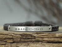 Custom Initial Date Bracelet, Personalized Braided Bracelet