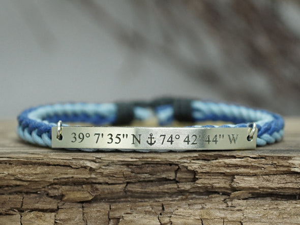 Custom Coordinates Bracelet, Anchor Bracelet, Engraved Bracelet, Teal & Sky Blue Cord Braided