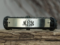 Custom Leather Monogram Bracelet, 3 Initial monogrammed Gift