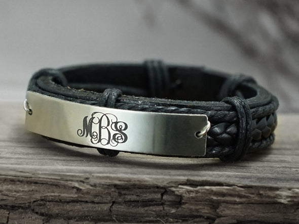 Rose Gold Monogram Bracelet,3 Initial monogrammed Bracelet, Name Bracelet, Leather Engraved Bracelet