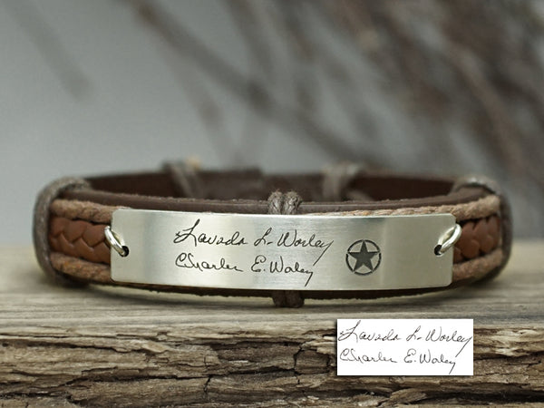 Actual Handwriting Bracelet, Custom Symbol& Signature Bracelet