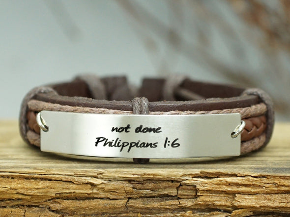 Bible Verse Bracelet- philippians 1:6-not done not finish