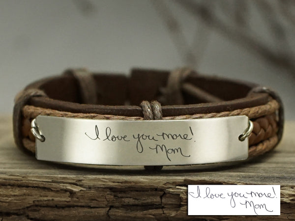 Mom Daughter Bracelet, Actual Handwriting Bracelet