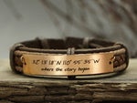 mens leather coordinate bracelet engraved where the story began