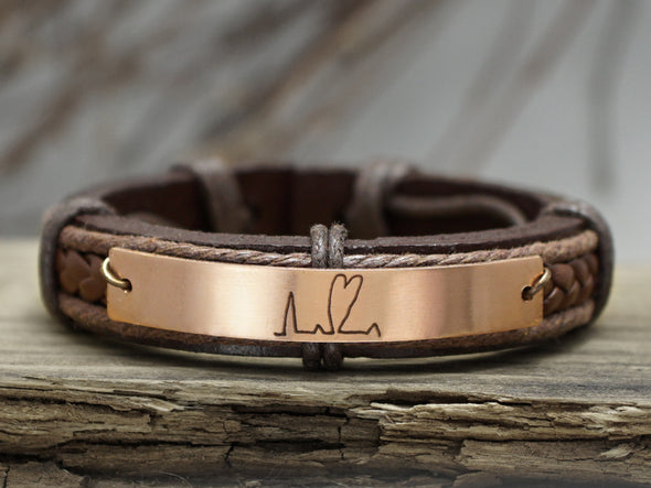 Handwriting Heartbeat Bracelet, Custom Signature Bracelet, Handwritten Leather Engraved Bracelet