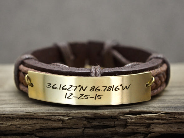 Mens Leather Bracelet, Gold Coordinate Bracelet, Latitude Longitude bracelet