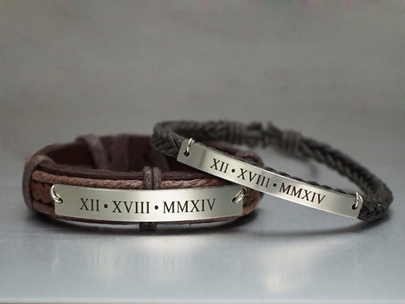 Roman Numeral Matching Couple Bracelets, Anniversary Gift