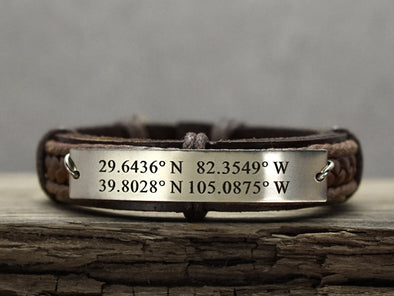 Custom Coordinates Bracelet for 2 locations, Engraved Longitude Latitude Bracelet