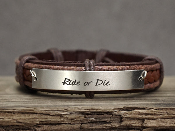Friendship Bracelet, Ride or Die Bracelet, Personalized Mens Leather Bracelet