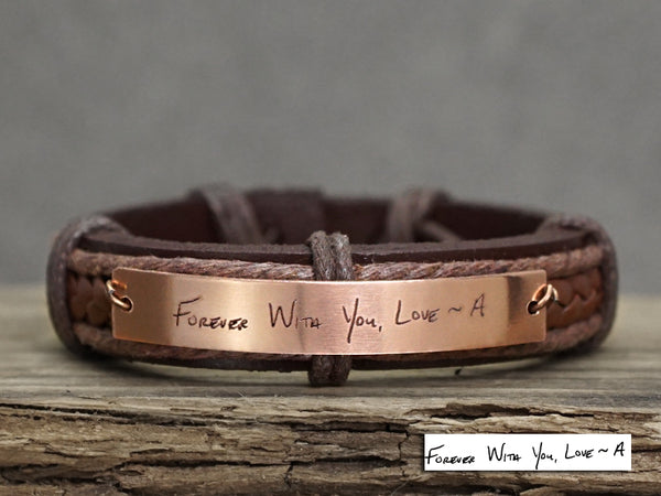 Personalized Signature Bracelet, Actual Handwriting Bracelet, Handwritten Leather Engraved Bracelet