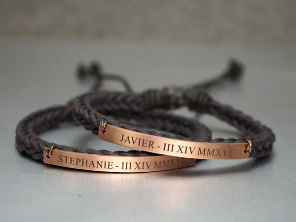 Name Anniversary Date Couple Bracelets, Matching Roman Numeral Bracelets