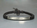 Couples Bracelet, Engraved Cord Name Bar Bracelet, His and Her Name Plate Bracelet