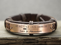 Custom Mens Leather Bracelet, Arrow Bracelet, Coordinate Bracelet