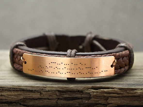 copper morse code bracelet for men