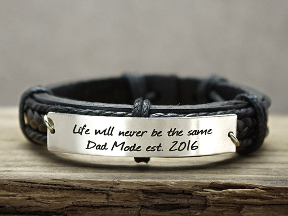 New Dad Gift, Custom Mens Leather Bracelet, New Daddy Bracelet