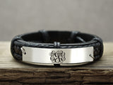 Custom Leather Monogram Bracelet, Initial monogrammed Gift
