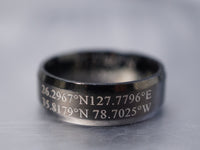 Custom Coordinates Ring for Two Locations, Latitude Longitude Ring, Mens Personalized Engraved Ring