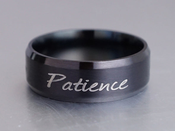 Custom Word Ring, Patience Ring, Engraved Ring, Personalized Stamped Ring