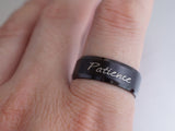 Custom Word Ring, Patience Ring, Engraved Ring, Personalized Stamped Ring, Message Black Steel Ring
