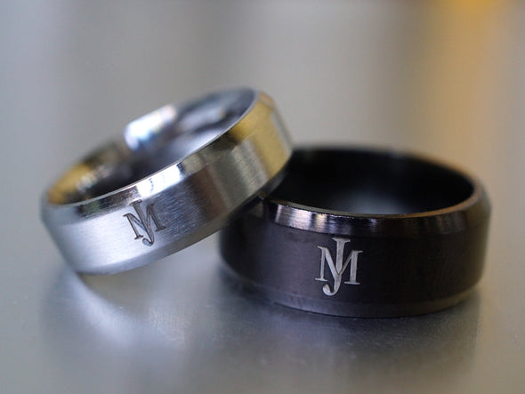 His and Hers Rings, Personalized Initial Rings, Monogram Rings
