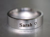 Custom Name Band Ring, Sweet Heart Engraved Ring