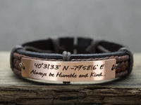 Custom Coordinates Bracelet, Inspirational Mens Bracelet, Personalized Leather Engraved Bracelet