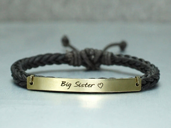Sister Bracelet, Sister Jewelry, Cord Braided Bracelet, Sweet Heart Engraved Bracelet, Sister's Gift