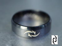 Personalized symbol Ring, Custom Logo Ring, Engraved Ring, Stainless Steel Ring, Beveled Edge Band