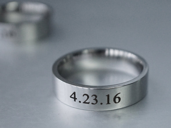 Couples Ring, Date Ring Set, Matching Couple Rings, His and Her Ring, Custom Engraved Wedding Ring