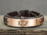 Custom Leather Monogram Bracelet, 3 Initial monogrammed Gift, Mens Engraved Leather Braided Bracelet
