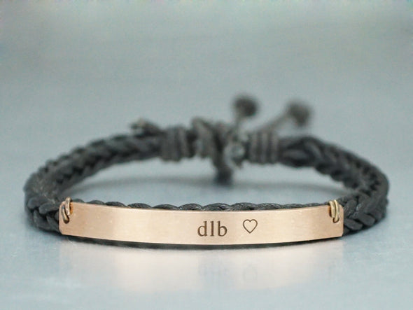 Rose Gold Name Bar Bracelet, Custom Initial & Heart Engraved Bracelet
