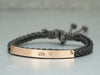 Rose Gold Name Bar Bracelet, Custom Initial & Heart Engraved Bracelet, Skinny Cord Braided Bracelet