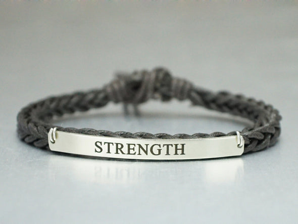 Strength Bracelet, Inspirational Bracelet, Personalized Word Bracelet