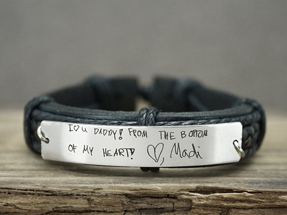 Dad Mom Bracelet, Kids Handwriting, Kids Art, Fathers Day Gift, Memorial Signature Jewelry Leather