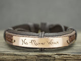 Best Friend Handwriting Bracelets set of two, No Matter Where Signature, Leather Engraved Bracelets