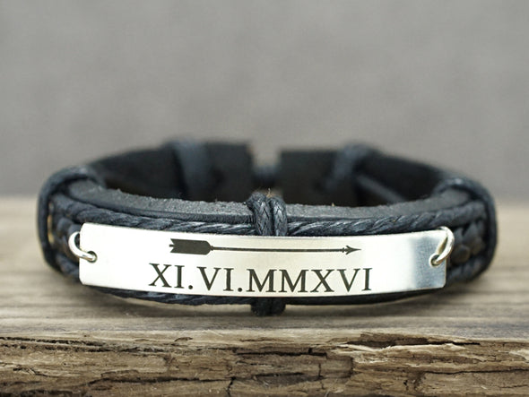 Matching Couple Bracelets, Roman Numeral Bracelet, Date & Arrow Leather Bracelet, His and Hers Gift