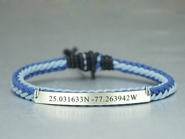 Coordinate Bracelet for her with Blue Braided Cord