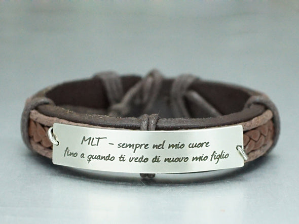 Memorial Bracelet, Latin Quote Engraved Bracelet, Custom Leather Bracelet